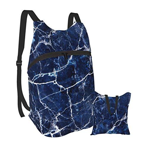 Mochila ligera con textura de mármol azul plegable para senderismo, bolsa impermeable para hombres y mujeres
