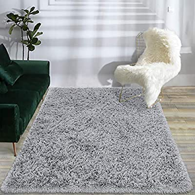 Maxsoft Fuzzy Rugs for Living Room, Grey Shag Area Rugs for Bedroom, 5 x 8 Feet, Fluffy Room Carpets for Girls, Kids, Plush Furry Rugs for Nursery, Bedside, Floor