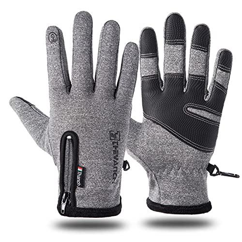 Guantes de esquí a Prueba de frío Guantes de Invierno Impermeables Guantes cálidos de Pelusa de Ciclismo para Pantalla táctil Clima frío A Prueba de Viento Antideslizante-Gray-XL