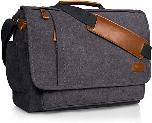 Estarer Mens 15-15.6 inch Laptop Bag Computer Messenger Satchel Briefcase Work Shoulder Bag Grey