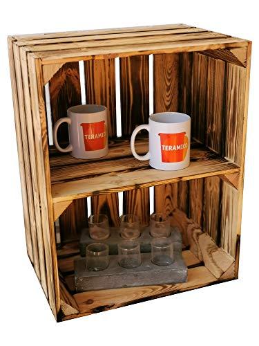 Teramico fruitkisten/wijnkisten/houten kisten 50 x 40 x 30 cm met tussenplanken -antraciet/wit/gevlamd - voor meubelbouw -massief en stabiel - 1 x Boden Kurz gegolfd