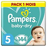 Couches Pampers Taille 5 (11-16 kg) - Baby Dry couches, 144 couches, Pack 1 Mois /NEW