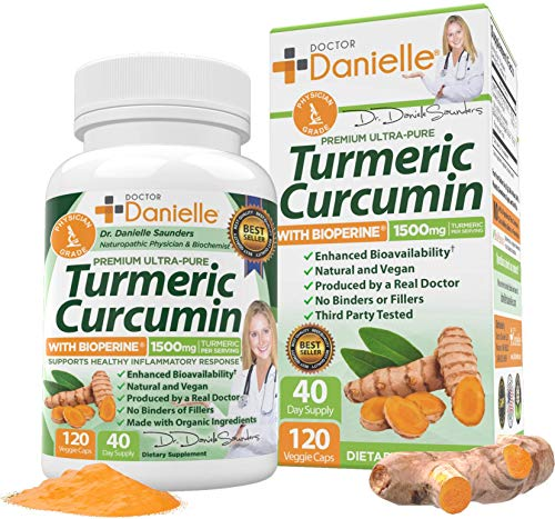 Turmeric Curcumin with BioPerine 1500mg. 95% Standardized Curcuminoids. Highest Potency Available. Joint & Healthy Inflammatory Support. Organic, Non-GMO, Gluten Free Capsules with Black Pepper