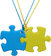 Sensory Oral Motor Aids Chew Necklace for Boys Girls Adults, 2 Pack Silicone Puzzle Chewy Jewelry for Autism ADHD Baby Nursing or Special Needs Kids, Reduce Biting for Heavy Chewer (Blue&Yellow)