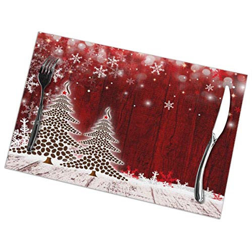Jimbseo Merry Christmas Tree - Juego de 6 manteles Individuales, manteles Individuales duraderos para Mesa de Cocina, Lavable, Resistente a Las