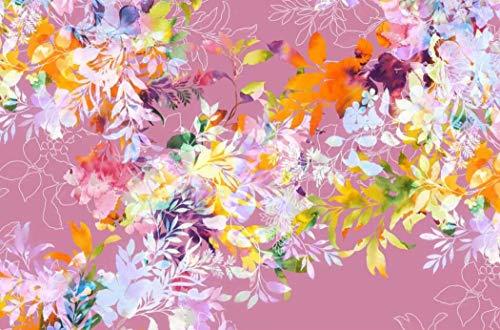 Jersey Stoff mit Blumen auf Rosa als Meterware zum Nähen von Baby, Kinder- und Erwachsen Kleidung, 50 cm