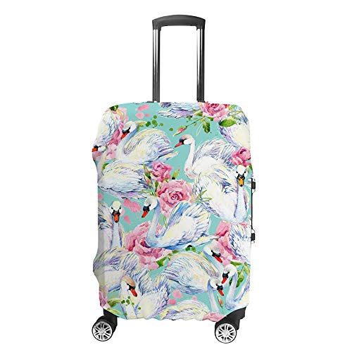 CHEHONG Suitcase Cover Luggage Cover Swan White Pink Roses Travel Trolley Case Protective Washable Polyester Fiber Elastic Dustproof Fits 18-20 Inch