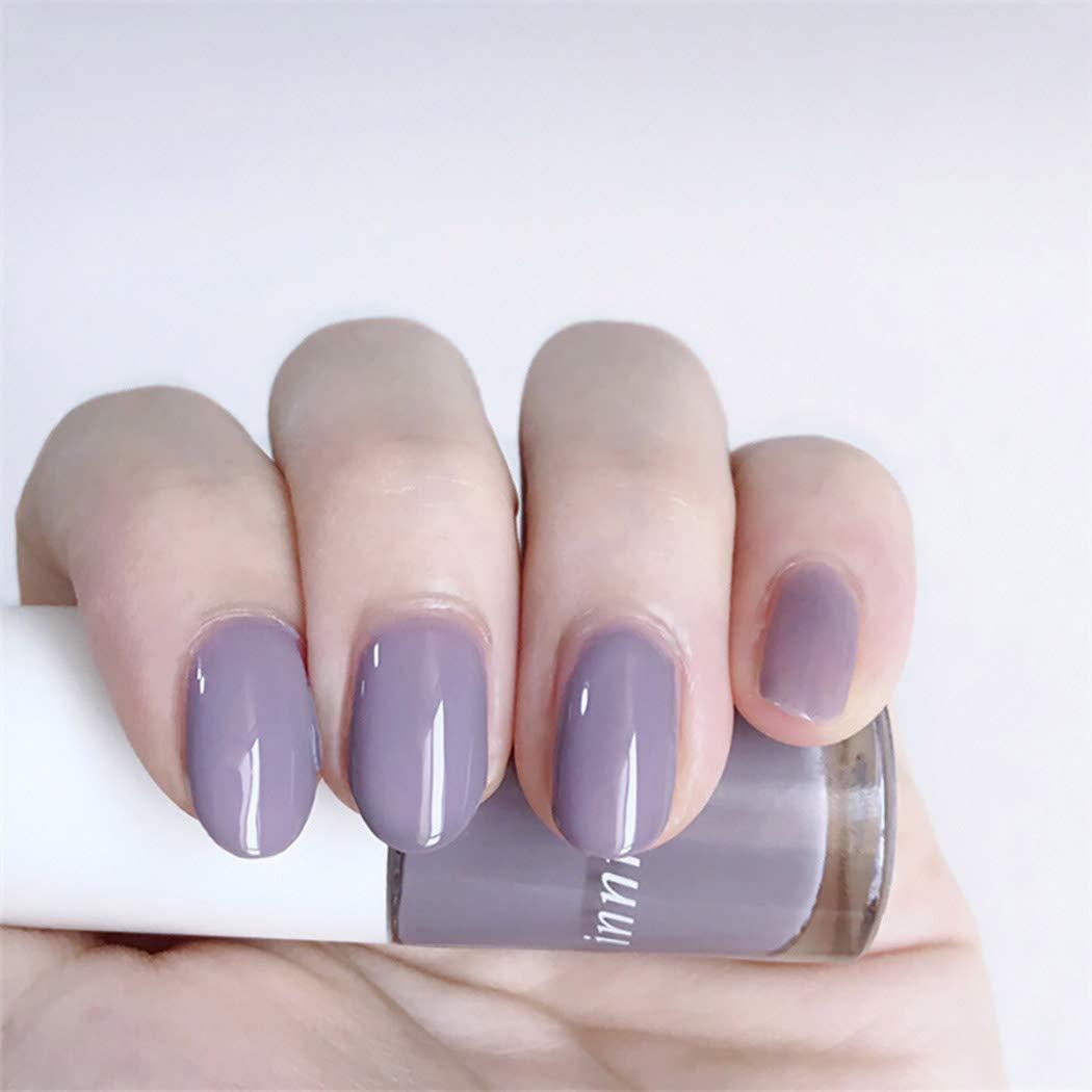 Ursumy Short Popular Press on Nails Fake Purple Oval free Acryli Glossy