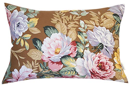 """TangDepot 100% Cotton Handmade Heavy Decorative Throw Pillow Covers, Pillow Shams, 45 Color and 19 Size Options, Lumbar Pillow Shell, Pillowcase - (12""""x20"""", A03 Tree Peony -Brown Bgcolor)"""
