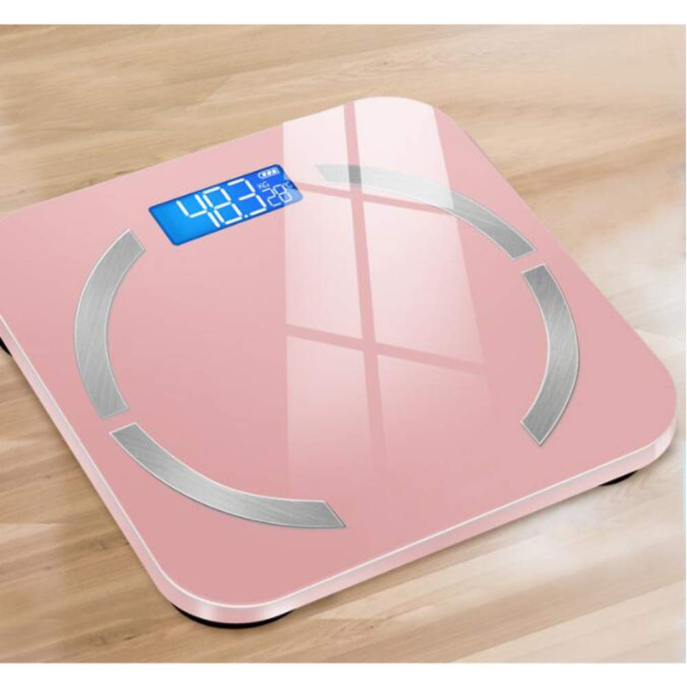 イソギンチャク血まみれのに話すスマートホーム小成人精密電子健康体重計ブルートゥースAPP USB充電-10.2 x 10.2 x 0.7インチ WJuian (Color : Rose gold)