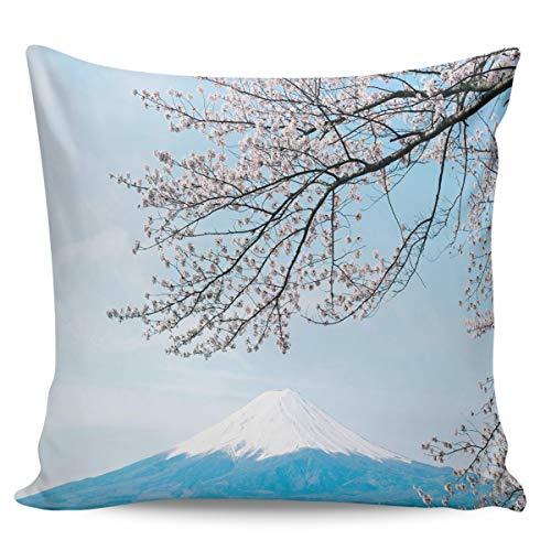 Scrummy, federa per cuscino da 61 x 61 cm, con bellissimo fiore di ciliegio e monte Fuji blu panoramico cielo nuvole decorative per la casa