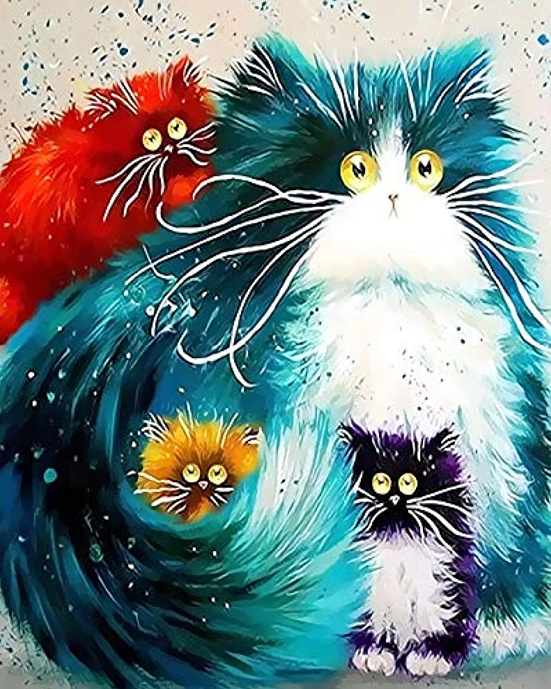 Newsight DIY Oil Painting Paintworks Paint by Number for Kids and Adults (16 by 20 inch Framed Four Color cat)