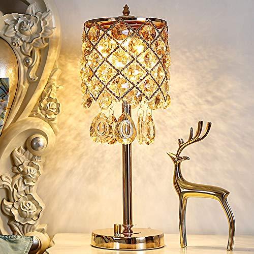 SHENLIJUAN Lámpara de Mesa de Noche lámpara de Mesa Creativa Boda Caliente de Lujo 16 * 44cm (Color : Marrón)
