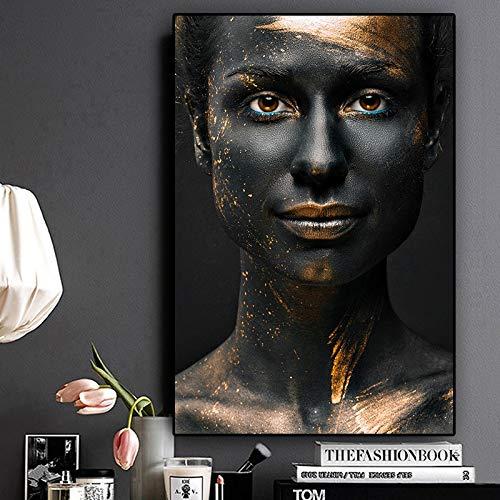 sanzangtang Schwarz und Gold-Frauen-Ölgemälde Segeltuch afrikanisches Kunstplakat und druckt Nordic Wohnzimmer Wandbild Rahmenlos 60x90cm