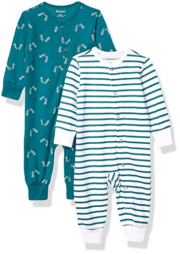 Hanes Ultimate Baby Flexy 2 Pack Sleep and Play Suits, Green Fun, 12-18 Months