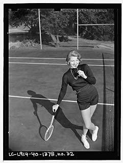 HistoricalFindings Photo: Lana Turner Posing,Tennis Court,Racket,Beverly Hills,CA,E Thiesen,1940 1