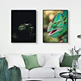 Pintura decorativa Paisaje animal pintura esmeralda verde lagarto arte lienzo pintura sala pasillo bar hogar mural 50x70cm x2 no marco