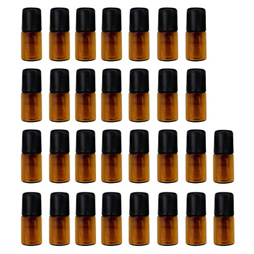 GreatBBA 30-Count 2ml Amber Mini Refillable Glass Roller Ball Bottles, Roll-on Vials for Essential Oil Aromatherapy Perfumes