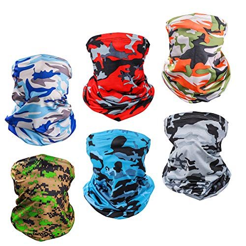 6 Piece UV Protection Neck Gaiter Breathable Summer Face Cover Scarf Bandana