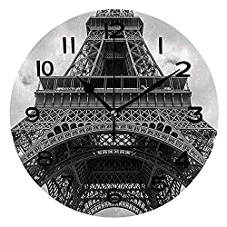 AmaUncle 10 Inch Round Face Silent Wall Clock Detail of Eiffel Tower Against Clouds in Black and White Unique Contemporary Home and Office Decor SW95419