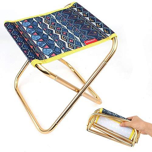 TRJGDCP Motif géométrique d'extérieur Chaise Pliante en Alliage d'aluminium Petit Tabouret Portable Randonnée Pêche Mini Chaise avec Sac de Rangement klappstuhl (Color : Dark Blue)