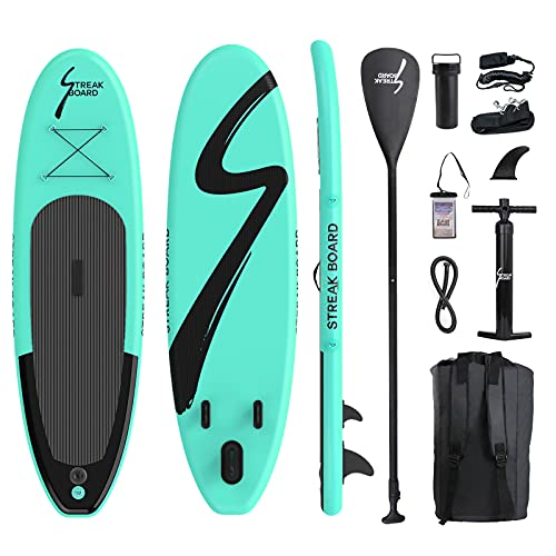 streakboard Inflatable Stand Up Paddle Board Surfing SUP Boards, 6 Inches Non-Slip Deck Thick ISUP Boards with Free Accessories & Backpack, Leash, Paddle and Dual Hand Pump, for All Levels