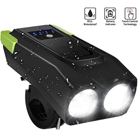 LETOUR LED Bike Light, Rechargeable Super Bright IPX6 Waterproof Bicycle Accessories Horn Speaker 2000mAh 800 Lumens Glare Flashlight