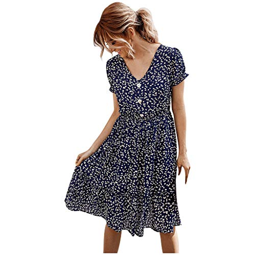 For Sale! AgrinTol Women Bohemian Dress Fashion Flower Print Short Sleeve Mini Dress V-Neck Button C...