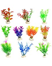 ANTOLE 10 Pack Artificial Aquatic Plants Small Aquarium Plants Artificial Fish Tank Decorations,Used for Household and Office Aquarium Simulation Plastic Hydroponic Plants Random Style