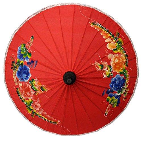 wifash Sonnenschirm Asiaschirm Chinaschirm Dekoschirm Ø 25 cm Rot