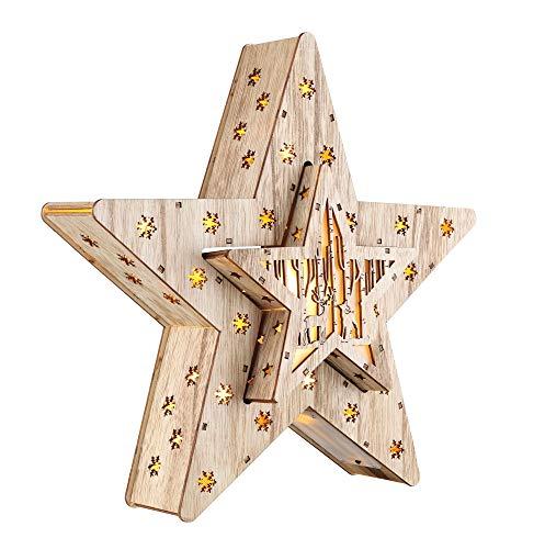 Estrella decorativa LED de madera en juego de 2 con 16 LED – 33,5 x 33,5 x 6 cm – Estrella de Navidad iluminada decoración de mesa ventana