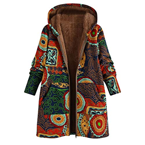 YinGTral Damen Winter Warme Jacke Blumendruck Kapuzen-Tasche Retro Übergroße Jacke