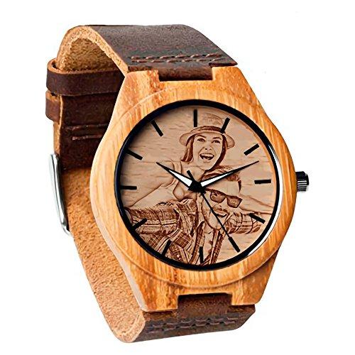 panicy Reloj de Madera Personalizado Personalizado del Presente del día del Padre Agregue Cualquier Foto y Grabe Cualquier Texto