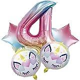 DIWULI, Juego de Globos, Numero 4 Arco Iris Rosa XL + Unicornio Globos, Globos números Aluminio años Grande número Juguetes, 4° Cumpleãnos niña niño Joven, Fiestas, decoración, Birthday Decoracion