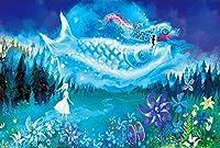 パズル1000ピース大人のパズル木製パズルクラシック3Dパズル星空の花と魚の女の子風景動物コレクションモダンな家の装飾