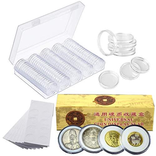 Cápsulas de Monedas,Liwein 120 Piezas Caja de Almacenamiento de Monedas Transparente Funda de Moneda Redondo con 120 Juntas de Espuma EVA Contenedor de Almacenamiento de Monedas (17/20/25/27/30/46 mm)