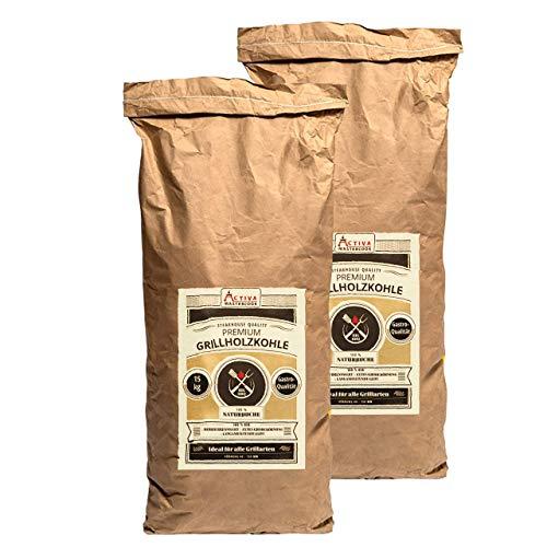 ACTIVA Premium Gastro Grillkohle 30 kg (2 x 15 kg) Buche Holzkohle Buchenholzkohle Grillholzkohle Steakhausqualität Steakhouse Qualität Premium Restaurant Qualität
