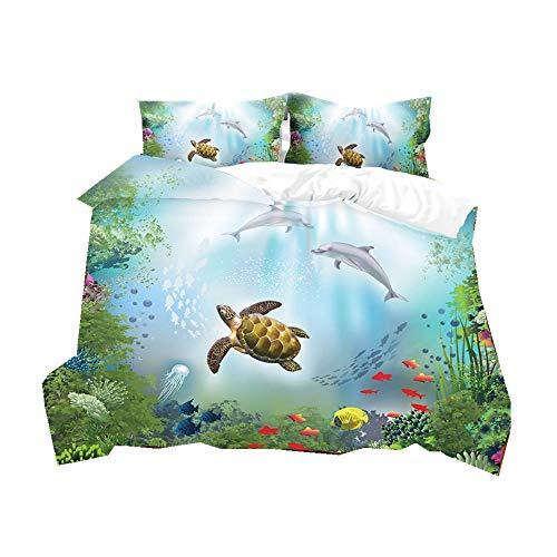 Blue Duvet Cover Set Super King Underwater World Natural Landscape Dolphins Sea Turtle Coral Reef Shoal of Fish Children's Bedding Set with Pillowcase, Multicolor (Blue #5,3Pcs Super King 220x260 cm)