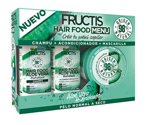 Garnier Fructis Hair Food - Pack Champú + Acondicionador + Mascarilla para Pelo Normal a Seco, con Aloe Vera Hidratante, Limpia, Suaviza y Nutre, Cabello Suave y Sin Apelmazar, Set de 3 Productos