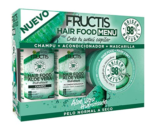 Garnier Fructis Hair Food Menú Aloe Vera Pack Champú + Acondicionador + Mascarilla para Pelo Normal a Seco - Crea tu Menú Capilar