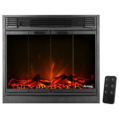 e-Flame USA Montreal 26-inch LED Electric Fireplace Stove Insert with Remote - 3-D Log and Fire Effect
