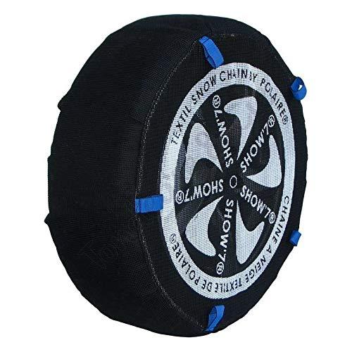 Chaussette neige textile pneu 165/80R14 excellente protection de la jante - Valise comprenant 2 chaines textile et 1 paire de gants