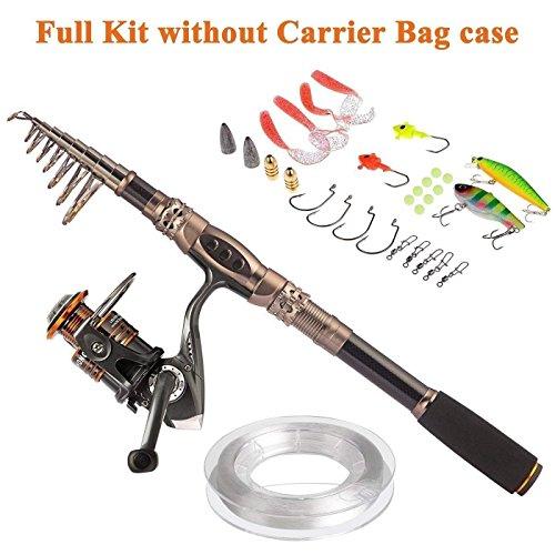 PLUSINNO Fishing Rod and Reel Combos Carbon Fiber Telescopic Fishing Rod with Reel Combo Sea Saltwater Freshwater Kit Fishing Rod Kit