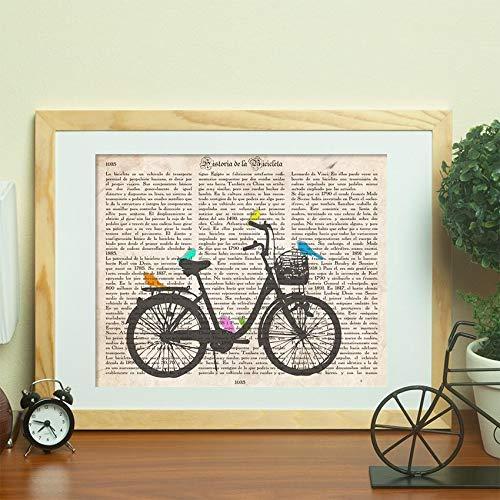 Nacnic Poster de Bici con pajaros. Láminas de Bicicletas definiciones. Decoración de Ciclismo para Deportistas y Ciclistas. Tamaño A4 con Marco