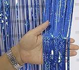 Lming Paquete de 2 metálicos oropel Cortinas Foil franja del reflejo Serpentinas Cortina de ventana de la puerta Decoración 3 pies 9 pies * - Láser Azul