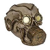 Spardose Totenkopf Skull mit Brille & Gasmaske 2 Farben zur Auswahl, Farbe:goldfarben