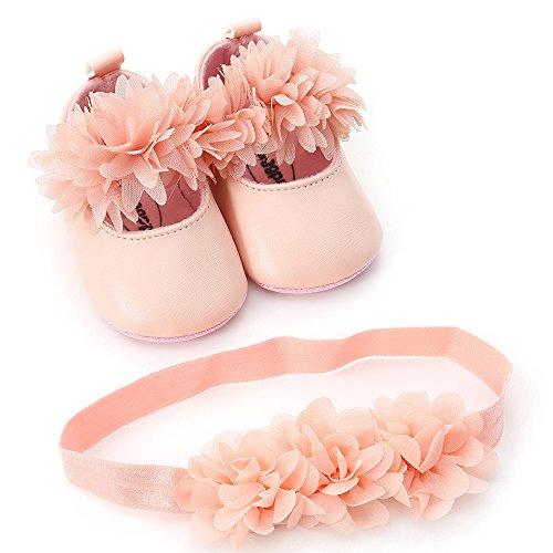 Zapatos Bebe Niña Primeros Pasos y Diadema de Flores 0-18 Mes K-youth