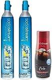Sodastream 60L CO2 Carbonators Bundle 14.5oz, Set of 2 And One Cola Flavor Drink Mix Bottle