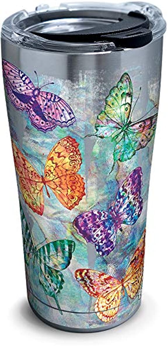 Tervis 1316691 Butterfly Glow Stainless Steel Insulated Tumbler with Lid, 20 oz, Silver