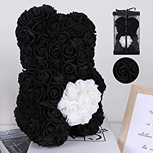 RECUTMS Rose Bear with Heart – Over 200+ Flowers on Every Rose Bear – Perfect for Anniversary's, Birthdays, Bridal Showers, Mothers, Etc. – Clear Gift Box Included!